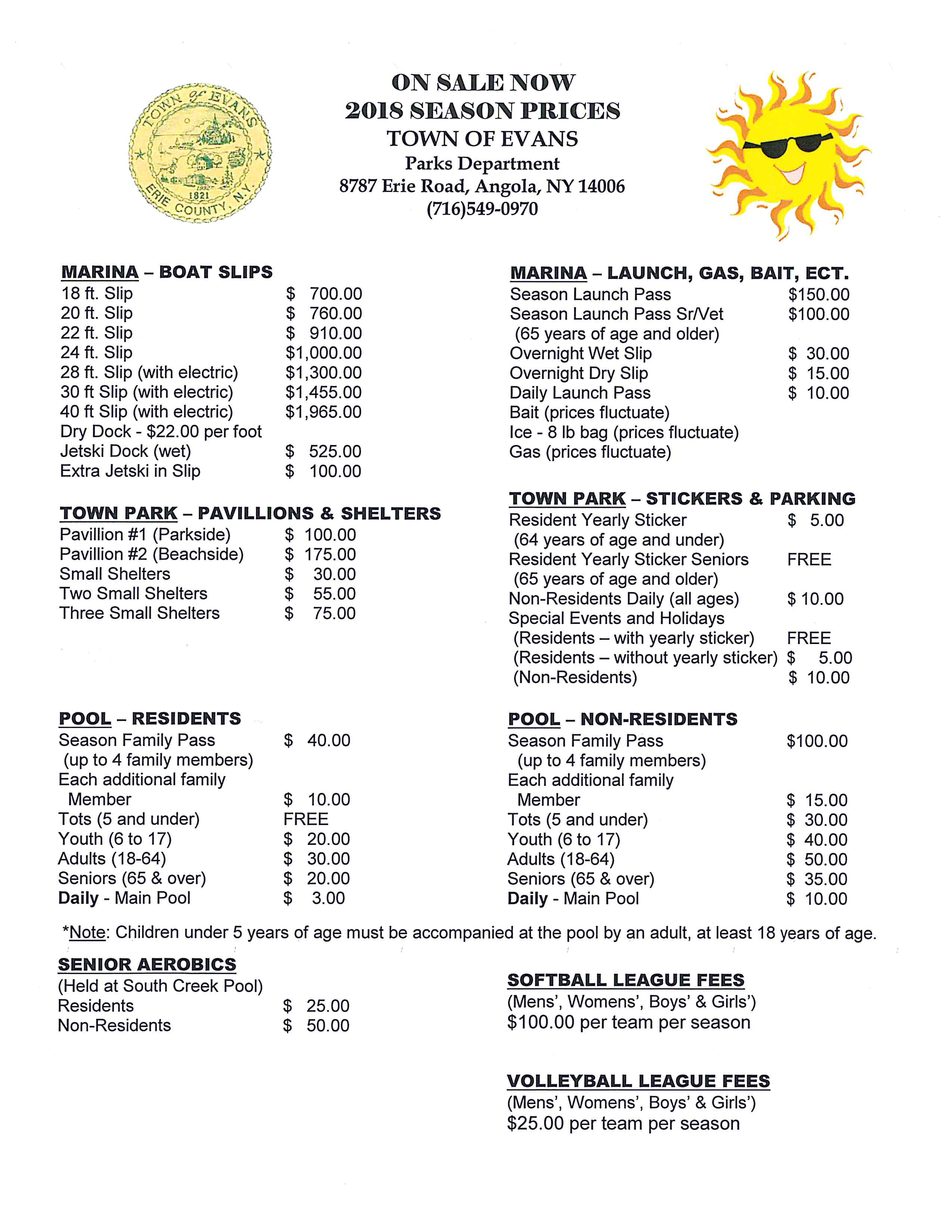 2018 Parks Pool Marina Sports League Prices