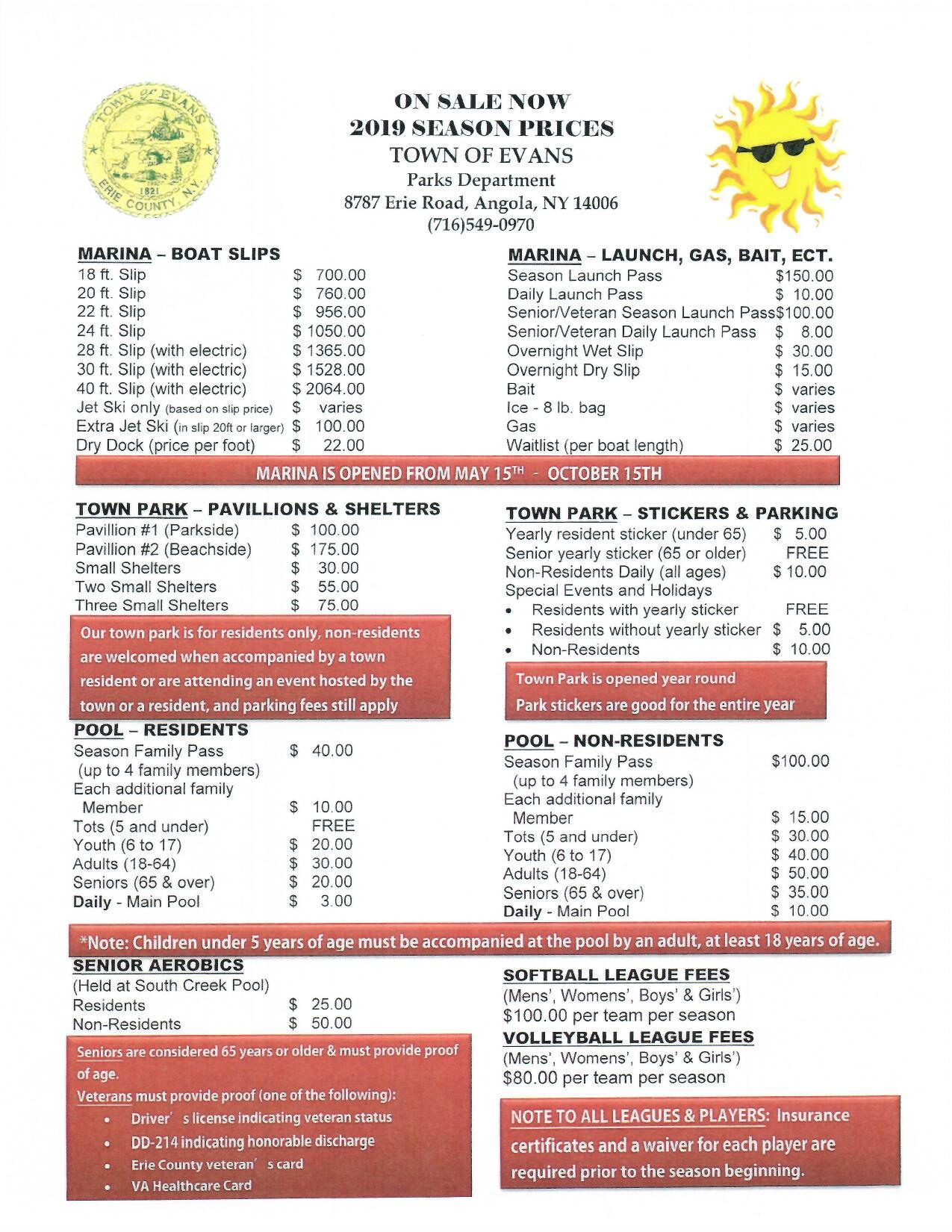2019 Parks Pool Marina Fees