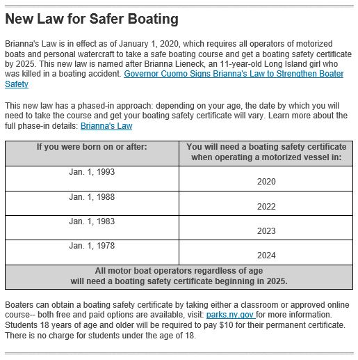Boat Safety msg