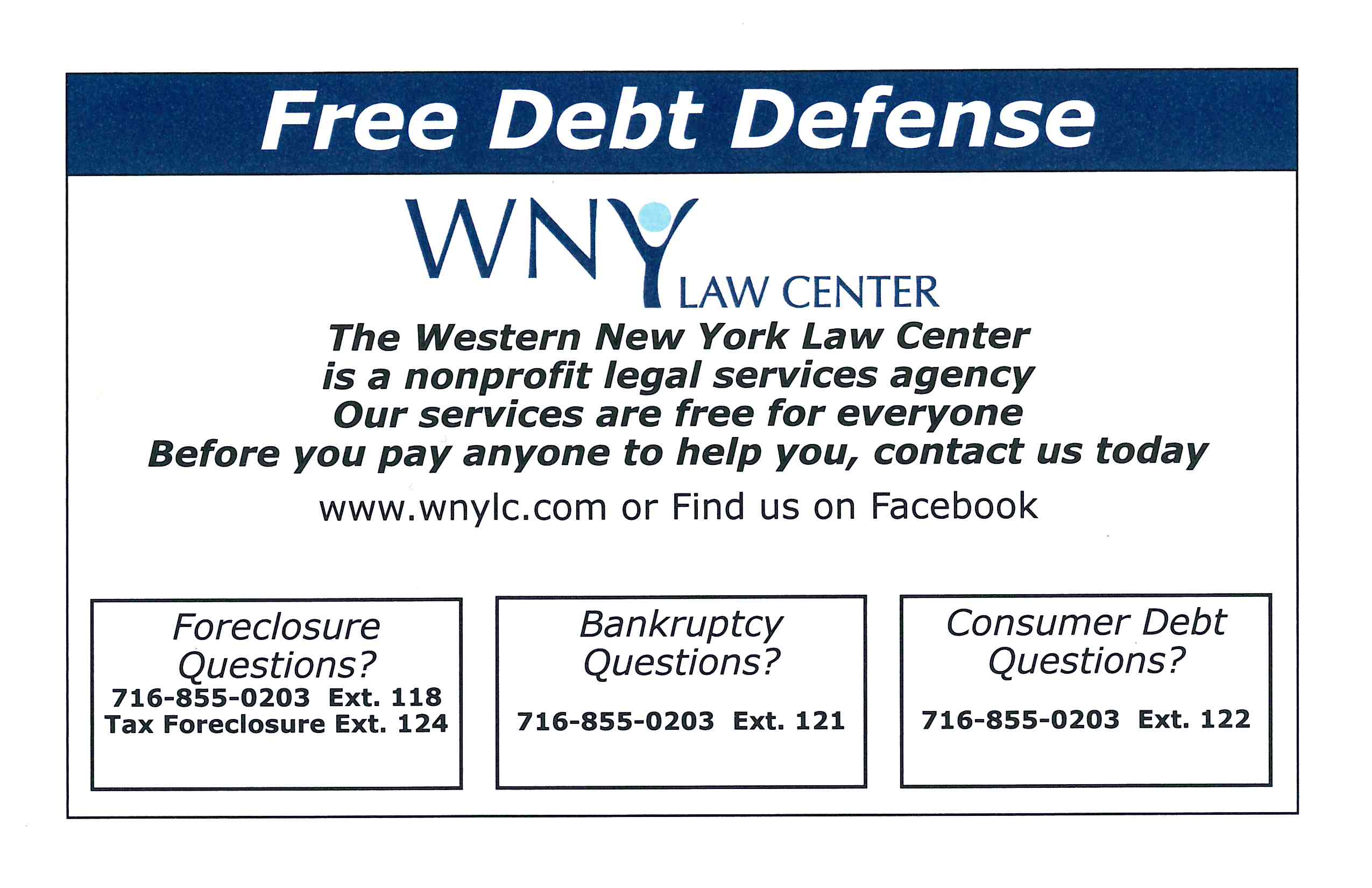 Free Debt Defense WNY Law Ctr Flyer