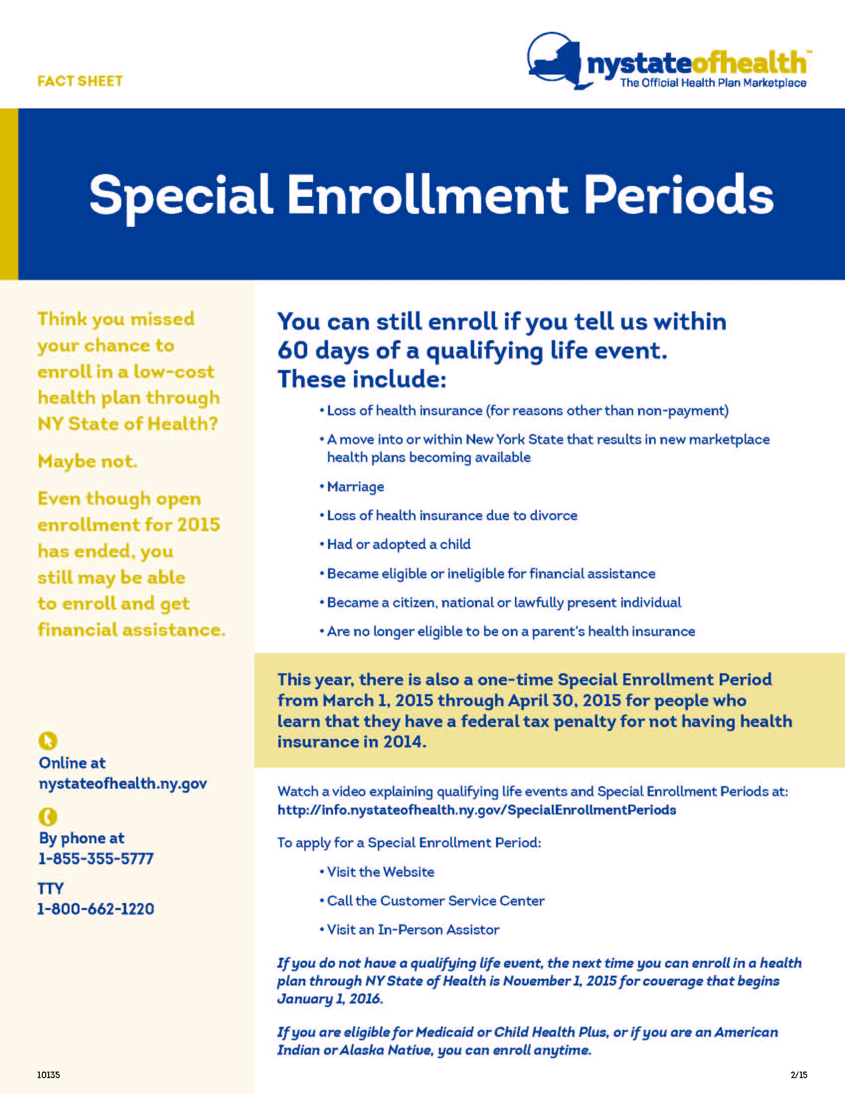 Special Enrollment Fact Sheet NY Health