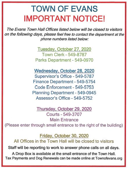 Town Hall Offices CLOSED Due to Cleaning 2020 Oct 27 30